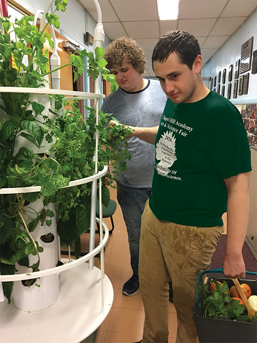 Two male CHA students working on hydroponic garden at school